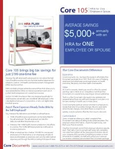 Click here to open and view the Core 105 HRA Plan Document Brochure and Forms