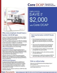Core Section 129 Dependent Care Assistance FSA Plan Document Brochure -- Section 125 Cafeteria Plan Options for 2018