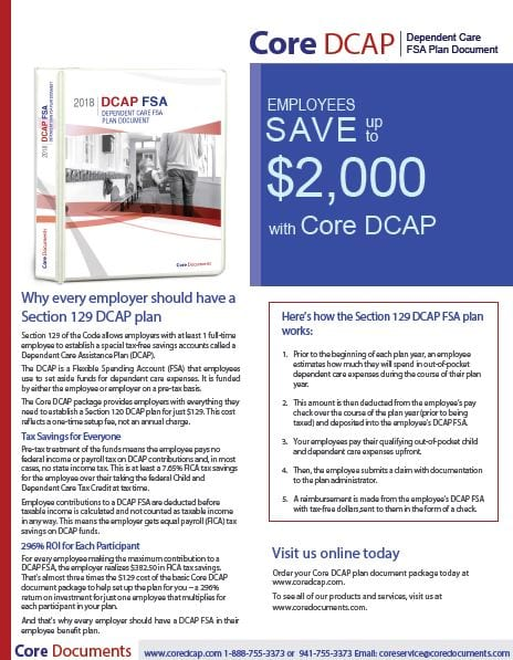 Core Section 129 Dependent Care Assistance FSA Plan Document Brochure