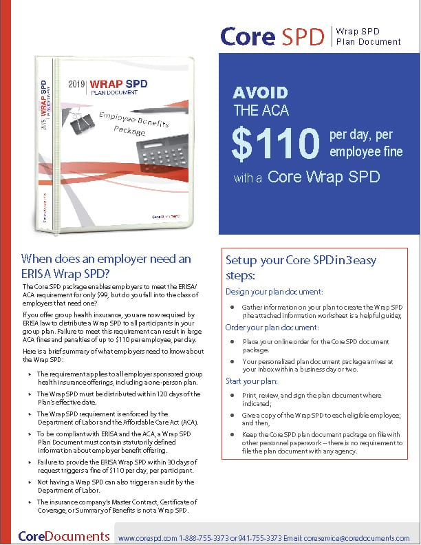 Core Wrap SPD Plan Document and Forms Brochure
