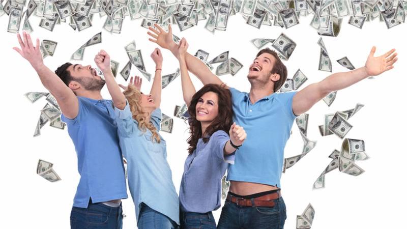 happy people money falling